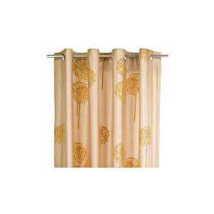 Photo of Tesco Flocked Floral On Faux Silk Lined Eyelet Curtains, Gold 163X229CM Curtain