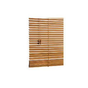 Photo of Wood Venetian Blind, Oak Effect 90CM Curtain