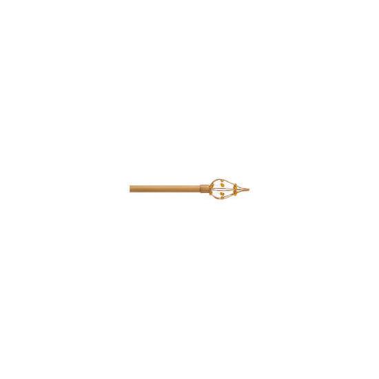 Extendable Metal Pole  Beaded Finial Antique Gold, 120-210cm