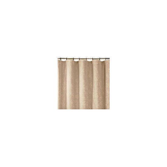 Tesco Leaf Jacquard Lined Pencil Pleat Curtains, Taupe 112x183cm