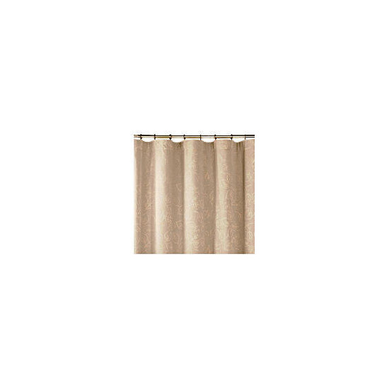 Tesco Leaf Jacquard Lined Pencil Pleat Curtains, Taupe 112x183cm