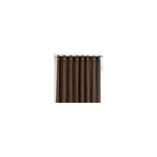Tesco Plain Canvas Unlined Belt Top Curtains, Chocolate 117x183cm