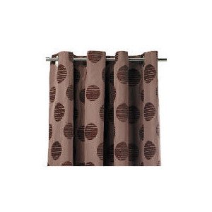 Photo of Tesco Chenille Spot Lined Eyelet Curtains, Mocha 163X183CM Curtain