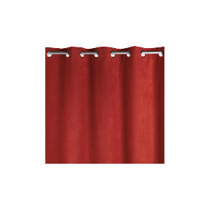 Photo of Faux Suede Unlined Eyelet Curtainss, Berry 168X183CM Curtain