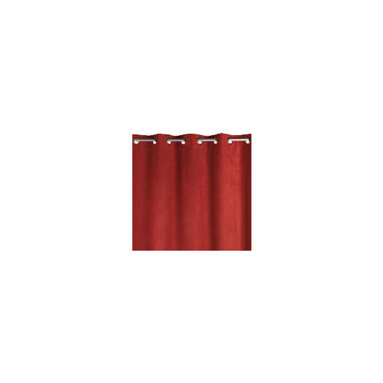 Faux Suede Unlined Eyelet Curtainss, Berry 168x183cm