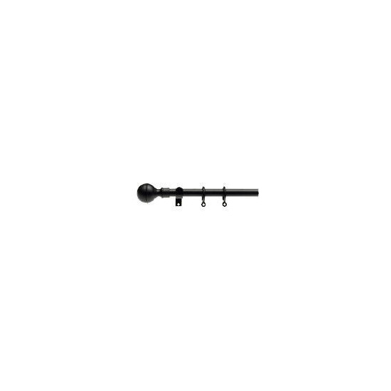 Extendable Metal Curtains Pole Ball Finial, Black 120-210cm