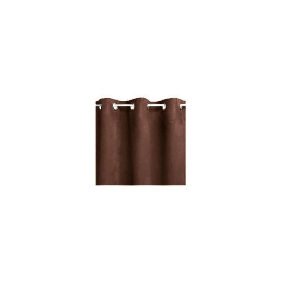 Faux Suede Unlined Eyelet Curtainss, Chocolate 168x137cm