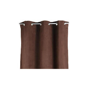 Photo of Faux Suede Unlined Eyelet Curtainss, Chocolate 168X183CM Curtain