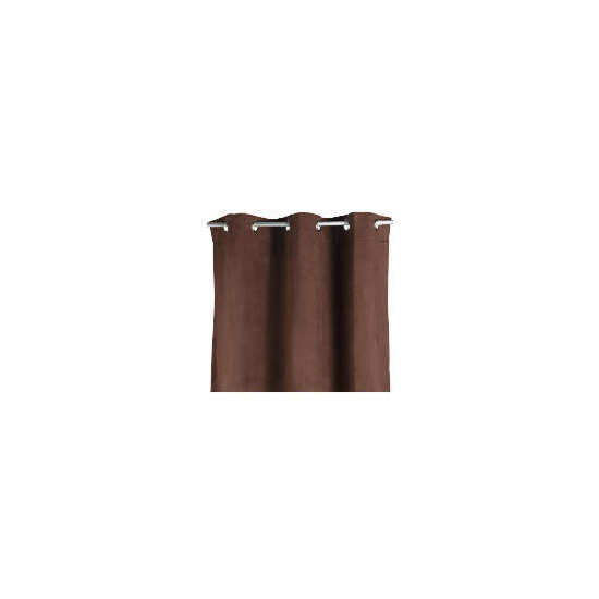 Faux Suede Unlined Eyelet Curtainss, Chocolate 168x183cm