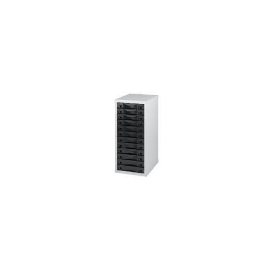 12 Drawer Multi Black Steel & Grey A4 Filing Cabinet