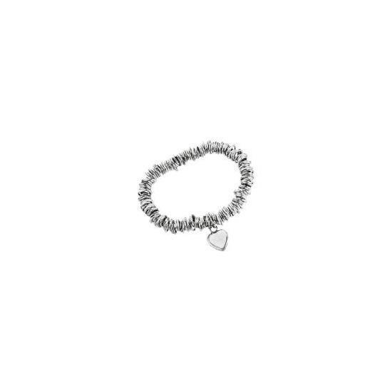 Silver link & heart charm bracelet