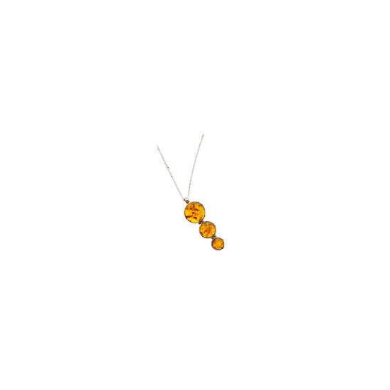 Silver amber stone pendant