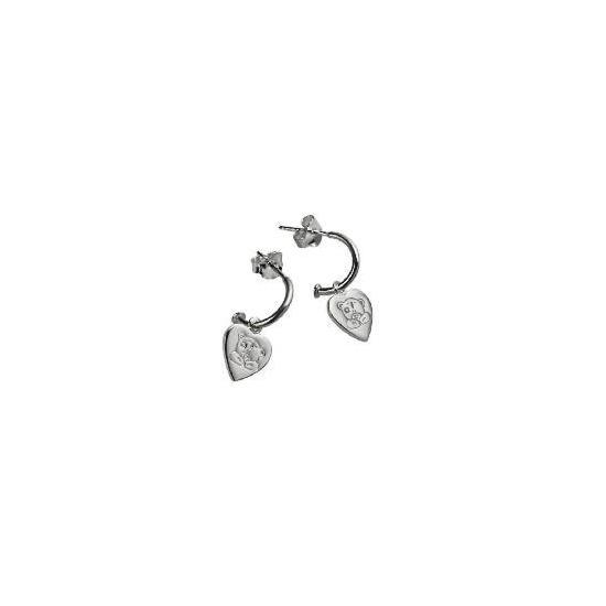Me To You silver heart half hoop earrings
