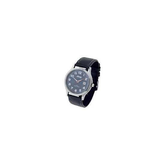 Jeep mens black strap watch