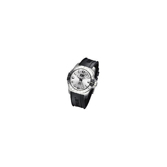 CAT  active one 3 hand date white dial black rubber strap watch