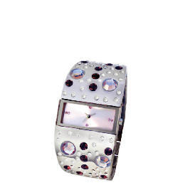 F&F Signature stainless steel multi colour bubble stone cuff watch Reviews