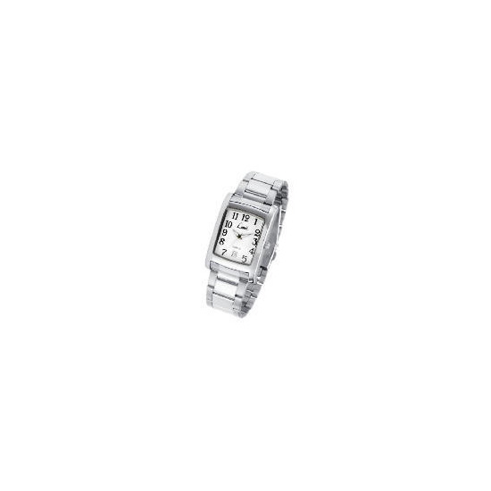 Limit mens rectangular date silver bracelet watch