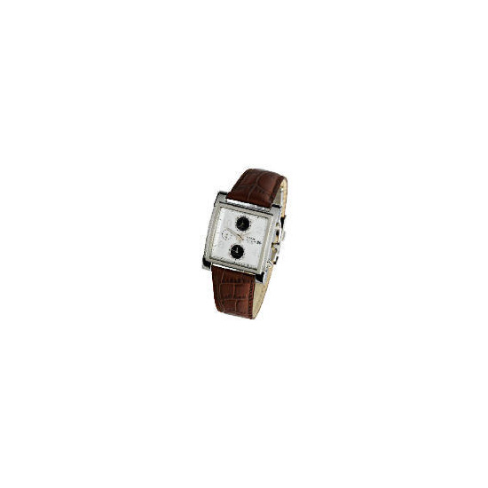 Pulsar mens chronograph leather strap watch