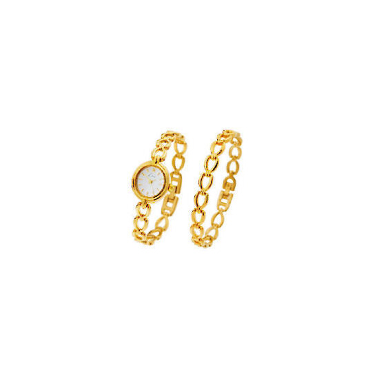 Limit White Dial Gold Plated Watch & Bracelet Set