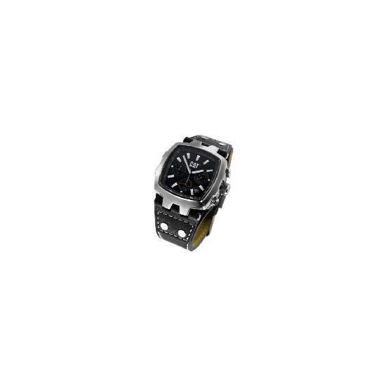 CAT steel square chrononograph black strap watch