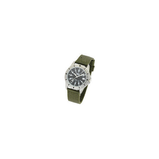 Lorus black dial date webbing strap watch