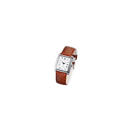 Pulsar mens brown leather strap watch