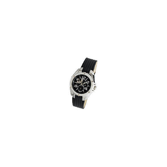 Pulsar mens multi black dial leather strap watch