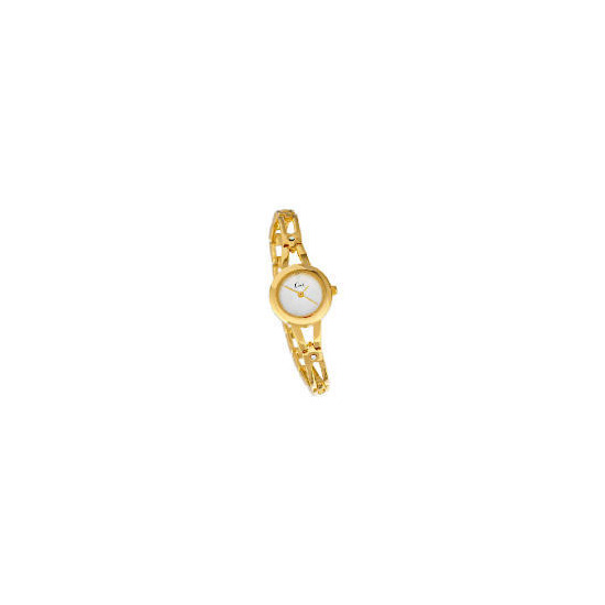 Limit ladies gold plate scroll dial watch