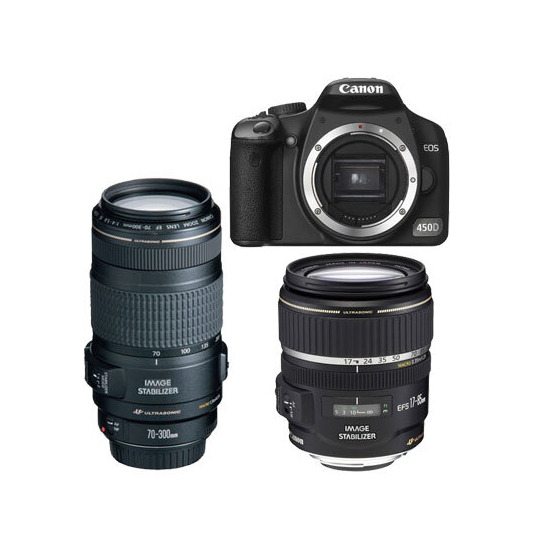 Canon EOS 450D with 18-55mm and 70-300mm lenses