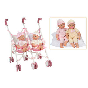 Photo of My Little Baby Interactive Twins With Double Stroller Toy