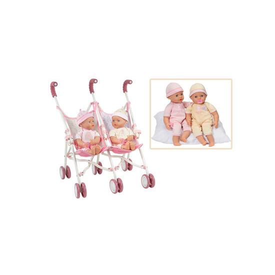 My Little Baby Interactive Twins with Double Stroller