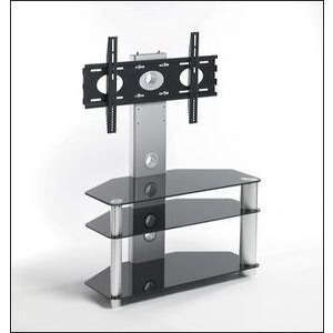 Photo of TV Stands UK Iconic Cantilever Stands UKGL410 In Black Glass With Silver Legs TV Stands and Mount