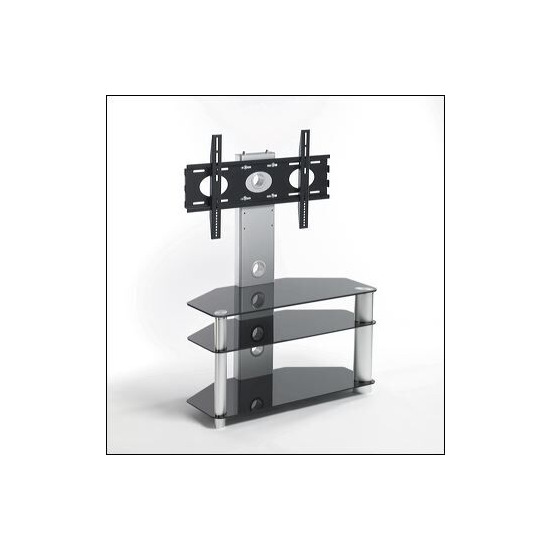 TV Stands UK Iconic Cantilever Stands UKGL410 in Black Glass with Silver Legs