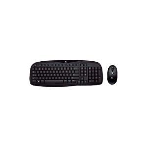 Photo of Logitech Cordless Desktop EX 100 - Keyboard - Wireless - RF - Mouse - USB Wireless Receiver - Glossy Black - English - United Kingdom Keyboard