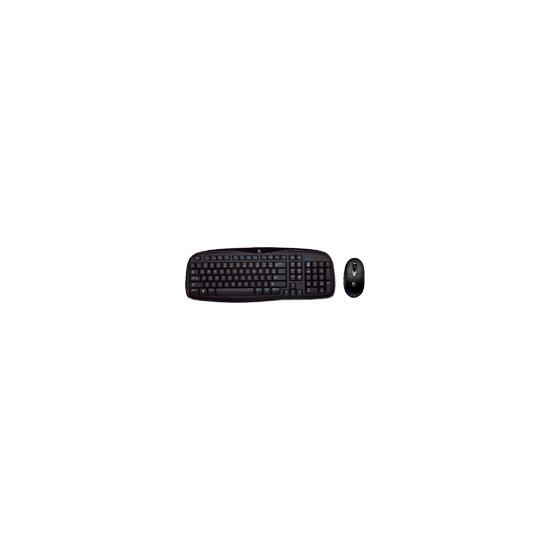 Logitech Cordless Desktop EX 100 - Keyboard - wireless - RF - mouse - USB wireless receiver - glossy black - English - United Kingdom