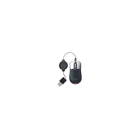 Belkin Retractable Mouse - Mouse - optical - wired - USB - black, silver