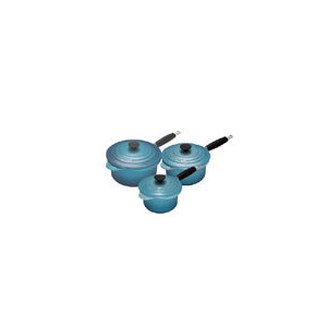 Photo of Le Creuset Teal 3 Piece Cast Iron Saucepan Set Cookware