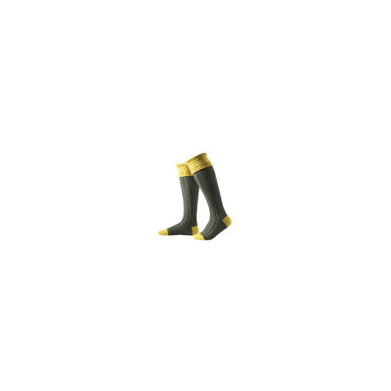 Hunter Royal Socks in Moss Green and Gold - Small