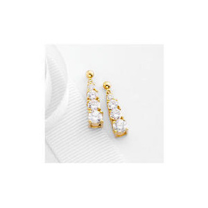 Photo of 9CT Gold Cubic Zirconia Drop Earrings Jewellery Woman