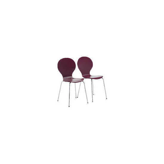 Pair of Bistro Stacking Chairs, Claret