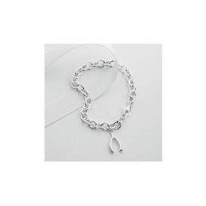Photo of Sterling Silver Wishbone Charm Bracelet Jewellery Woman