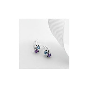 Photo of 9CT White Gold Blue Topaz and Amethyst Earrings Jewellery Woman