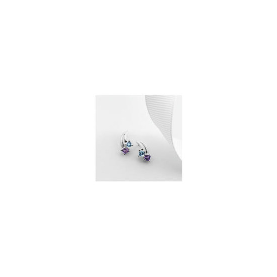 9ct White Gold Blue Topaz and Amethyst Earrings