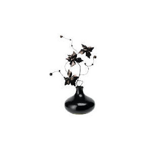 Photo of Black Beaded Flowers In Black Shiny Vase Home Miscellaneou