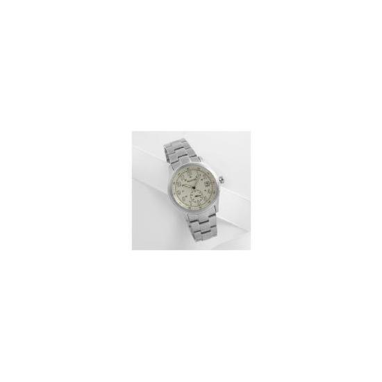 Accurist mens cream dial date silver bracelet