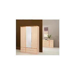 Photo of Brisbane 3 Door (Centre Mirror) 2 Drawer Robe, Maple Furniture