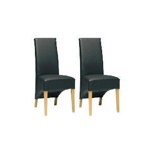 Photo of Pair Of Monterosso Chairs, Black Leather With Oak Legs Furniture