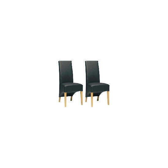 Pair of Monterosso Chairs, Black Leather with Oak legs