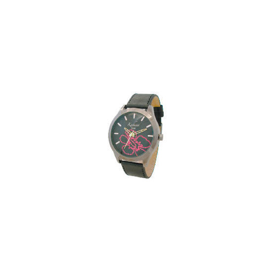 Kahuna ladies black floral stiched dial strap