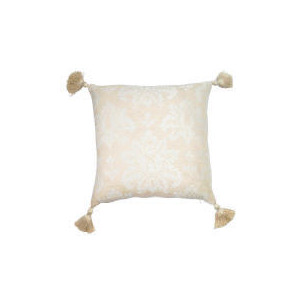 Photo of Tesco Damask Chenille Tassel Cushion , Natural Cushions and Throw